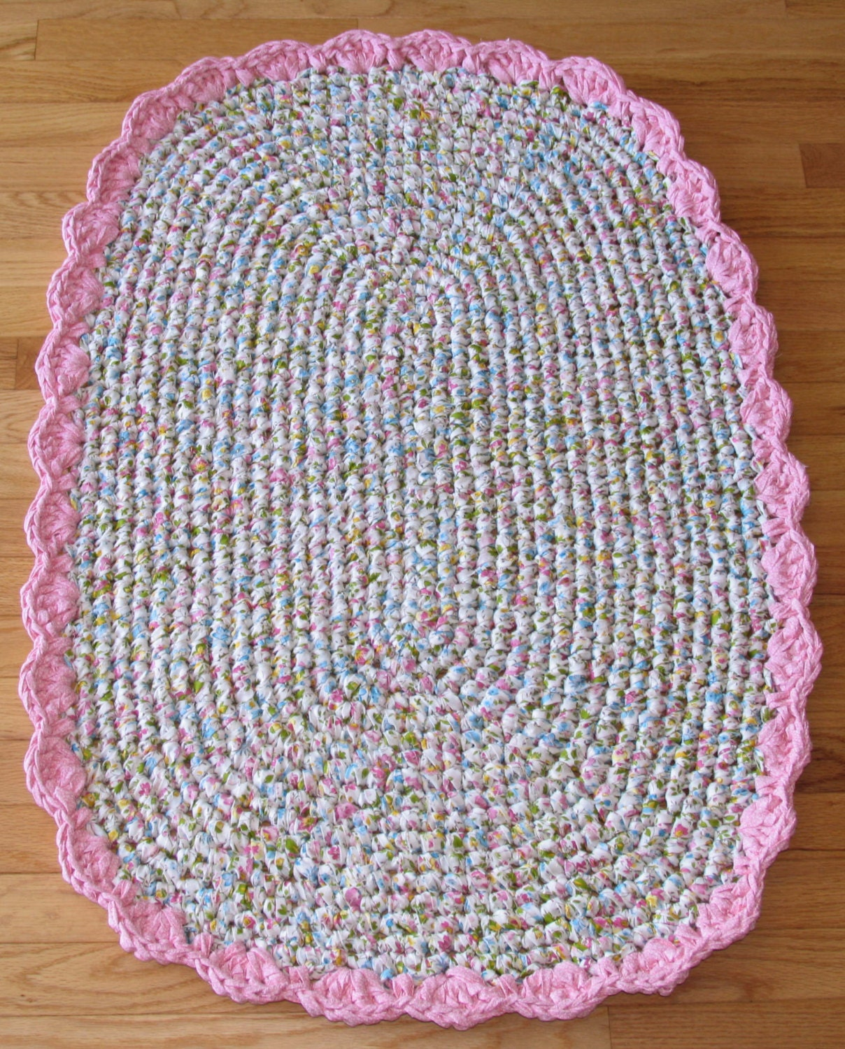 Hand Crocheted Cotton Fabric Oval Rag Rug Floral On By