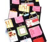 Shopping Bags Cloth Cocktail Napkins, Eco Friendly Cotton Appetizer Napkins - set of 6 - Shop 'til You Drop