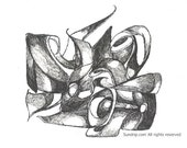 Warriors Call Original Line Abstract Black and White Drawing