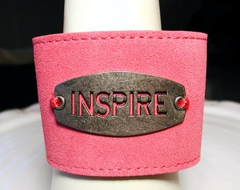 Pink Suede Leather Adjustable Cuff Bracelet - INSPIRE