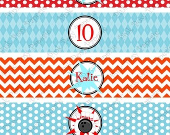 Printable Bowling Birthday Water Bottle Wrappers
