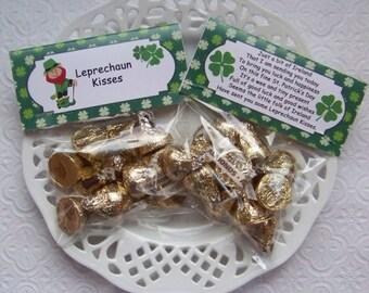 Printable St Patricks Day Leprechaun Kisses Bag Toppers - Instant Download