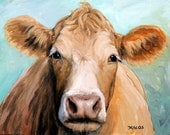 Guernsey Cow Art, Farm Animal Print, Face on Blue, Original Painting by Dottie Dracos