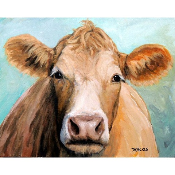 Guernsey cow art farm animal print face on blue original for Cow painting print