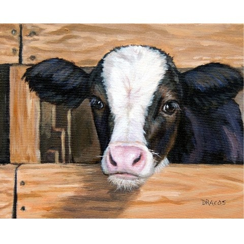 Cow art print of original painting calf with fence by dottie for Cow painting print