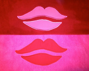 LIPS BEACH TOWEL Embroidered with Applique - Made To Order - Choose your colors