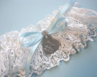 Personalized White Wedding Garter, Something Blue Bridal Garter in Venise Lace with Engraving, a Blue Bow and Swarovski Crystals