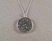 Silver Druzy Necklace, Druzy Pendant Necklace, Sterling Silver Necklace, Metallic Gray Druzy - juliegarland