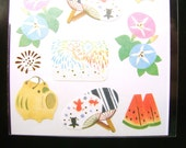 Beautiful Japanese Stickers Summer Japanese Fireworks Fans Watermelon Stickers (S115)