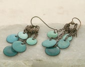 Handmade Colorful Dangle Earrings Boho Copper Enamel Teal Blue Green