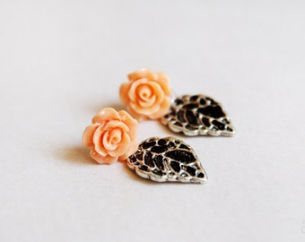 Peach Garden - Delicate Rose and Leaf Drop Stud Earrings - Shabby Chic Jewelry