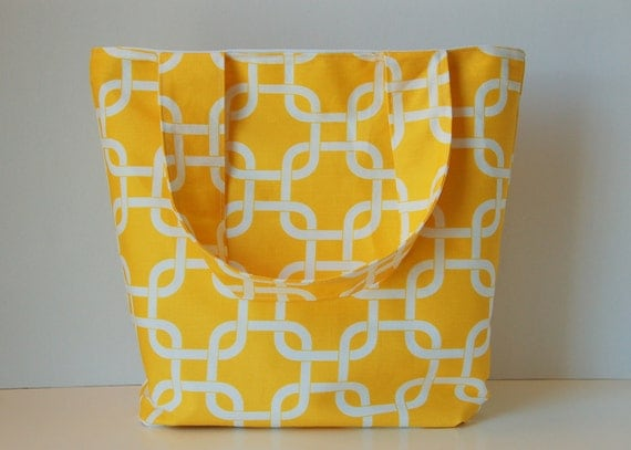 Canvas Tote Bag Yellow and White