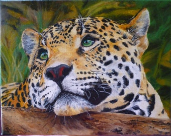 Jaguar Big Cat Original Oil Painting Made to Order Portrait 8 x 10 on Wrapped Canvas by Pigatopia