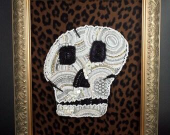 Beaded Painting // Skull // Leopard Print // Mixed Media