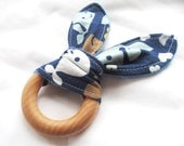 Natural Wooden Teether with Crinkles - Whale Tails with Blue Minky Dot - New Baby Gift - Natural Teething
