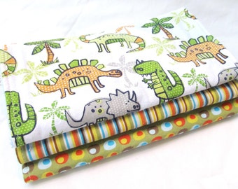 Baby Boy Burp Cloth Gift Set - Land of Dinosaurs - Dinos - 3 coordinating burp pads in designer cotton fabrics