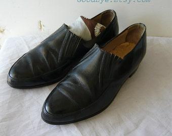 Vintage 60s Mens Leather BEATNIK Loafers Shoes size 8 Eu 40 UK 6 Black Mad Men Slip In