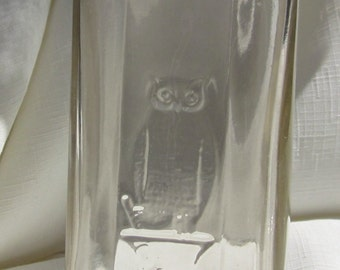 Antique, Owl Drug Bottle (Clear674)