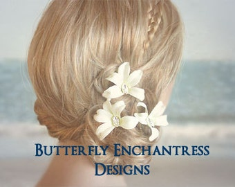 SALE  Ivory Hair Flowers, Wedding Hair Accessories, Beach Wedding - 3 Jubilee Orchid Flower Hair Pins