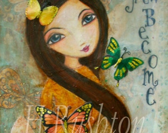 ACEO- Art Card- Limited Edition Print No.6 of 8- Mixed Media Art-  Butterfly Girl
