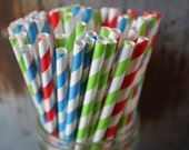 30 Race Party Straws, Paper Straws, Blue, Red, Lime Green, Super Hero, Thomas the Train