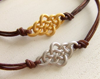 Endless Knot Jewelry Bracelet - Friendship Bracelet - Brown Leather - CetlicKnot Bracelet - Under 20