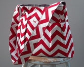 Red White Chevron Diaper Bag  - Adjustable Strap Six  Pockets Attaches to Stroller