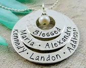 Mothers Layered Name Necklace - Family Name Necklace - Personalized Necklace - Grandmother Necklace - Sterling Silver Washer Stacked Names