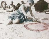 Flapper Draws Heart in Sand Photograph Print 10X8