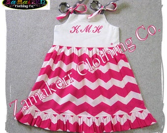 Girl Pink Chevron Dress - Custom Boutique Girl Jumper Ruffle Dress - Baby Girl Clothes 3 6 9 12 18 24 month size 2T 2 3T 3 4T 4 5T 5 6 7 8