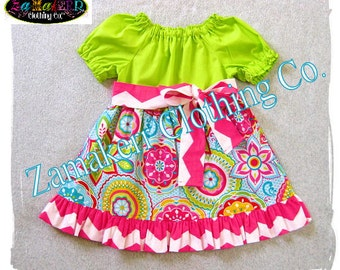 Girl Spring Clothing Floral Dress Flowers Easter Toddler Infant Baby Pageant Chevron Gift  Birthday 3 6 9 12 18 24 month  2T 3T 4T 5T 6 7 8