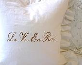 Made to Order White Linen Blend Ruffled SLIP COVER Light Brown La Vie En Rose French Script Design