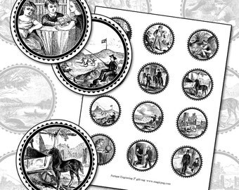 """Black and White Antique Victorian Gift Tags 2"""" Circle Digital Collage Sheet 50mm badge pinback button pin"""