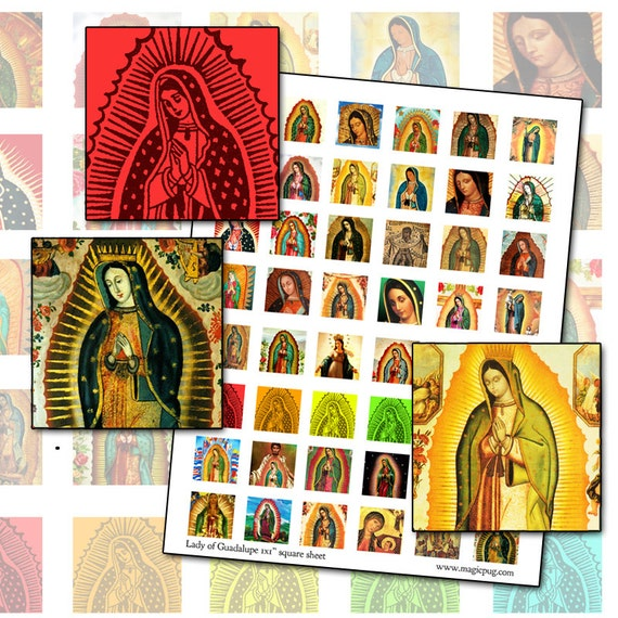 """Lady of Guadalupe 1x1 inch digital collage sheet 25mm x 25mm 25.4mm inchies 1"""""""