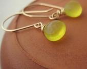 Limoncello Earrings - lemon yellow chalcedony gemstone and 14k gold fill jewellery