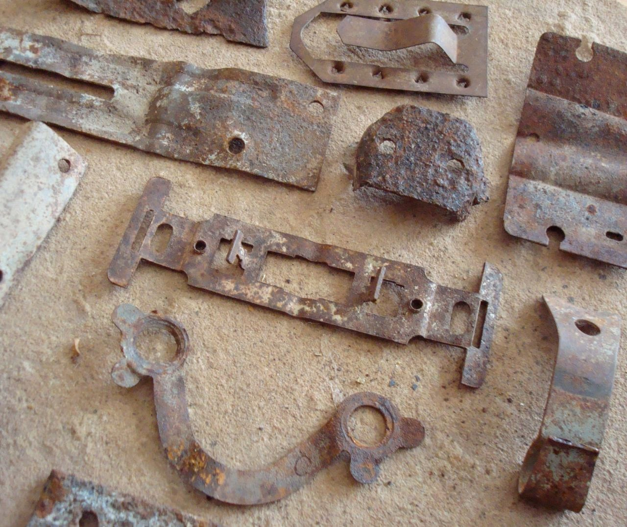 Rusty Metal Textured Pieces with Holes Found Objects Supplies