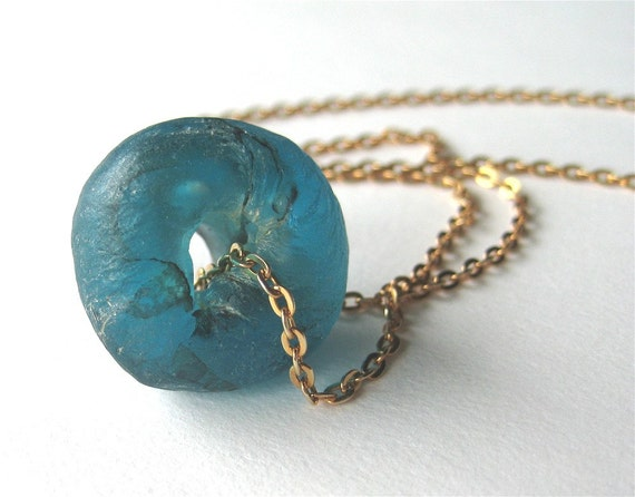 Rustic Dark Aqua Glass Bead Necklace, Gold Chain Necklace, Large Teal Glass Bead Pendant, Isiolo