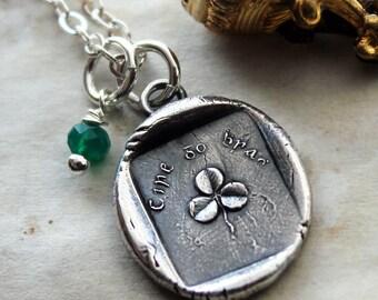 Wax Seal Shamrock Necklace with Genuine Emerald - Erin Go Bragh Ireland - Ireland Forever - E2250