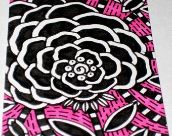 Original Drawing ACEO Black and White and Pink Flower Design
