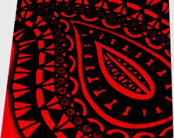 Original Drawing ACEO Red Paisley Design