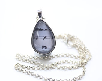 Birds On A Wire Pendant Necklace, Shiny Silver, Photography, Photo Jewelry