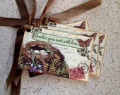 Bird Nest Tags - Vintage Birds Nest - Feather Your Nest With Love Tags - Eggs, Ferns, Butterfly -  Set of 4
