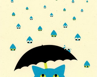 Raining Cats and Dogs - cat screenprint on paper
