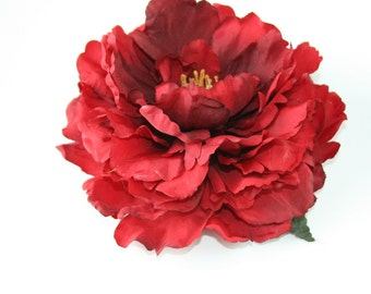 Large Peony in Red - 6 Inches -Artificial Flower, Millinery Flower - ITEM 0390