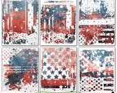 Grungy Old Glory Patriotic Digital Art Prints Instant Download Set of 6 - 8.5 x 11 inch Printable Papers  JPEG & PDF Red White Blue 1394