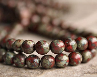 Red Picasso  6mm Czech Glass Round Druk Bead : 25 pc Strand