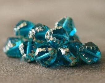 Aqua Czech Glass Bicone Bead 8mm: 12 pc