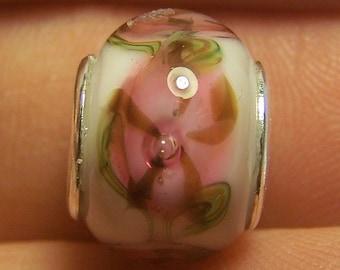 Lampwork Bead -Light Pink Morning Glory- ( European Style Lined Bead)