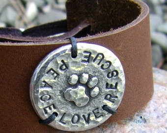 Adjustable Peace Love Rescue Cuff Bracelet, Rustic Jewelry, Paw Print Jewelry, Hand Stamped, hammered texture