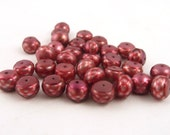 Faceted Cranberry Freshwater Pearls // 33 Pearls // Button Pearls // Loose Pearls //  Faceted Pearls  // Jewelry Supply